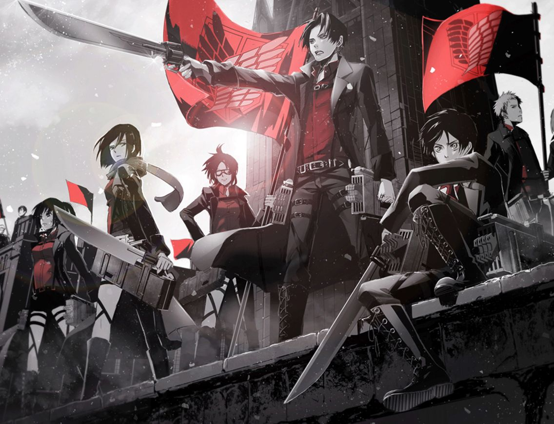 Black And Red Attack On Titan Survey Corps Attack On Titan Anime Attack On Titan Attack On Titan Art