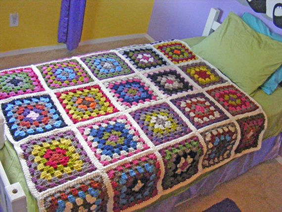 Crochet Granny Square Blanket Twin Or Ful Bed Afghan Multi Color