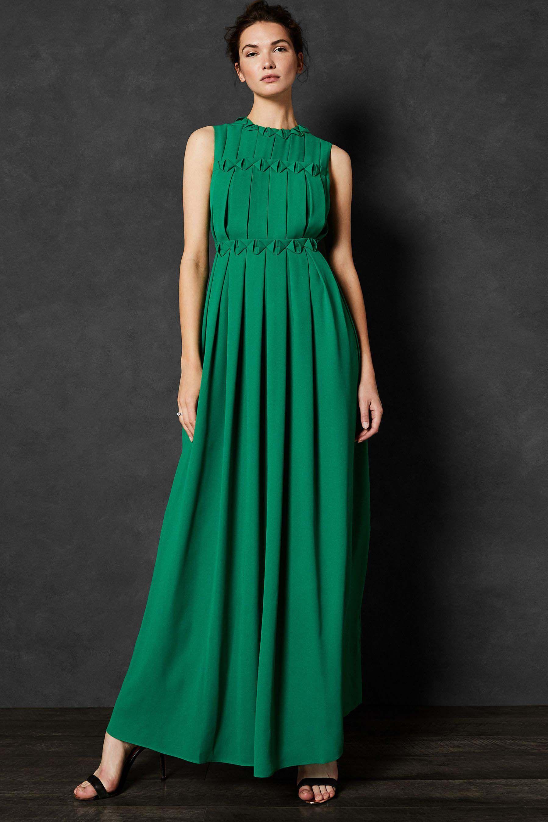 666bb5f0c9837 Womens Ted Baker Pleated Maxi Dress - Green