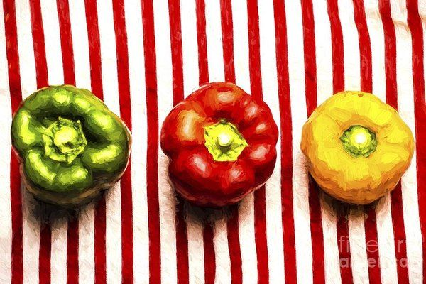 Italian Pop Art In Relative Form PrintPainted along the lines of same same but different, is a variety of three capsicum peppers sitting on a red striped tablecloth. Italian pop art in relative form by Ryan Jorgensen