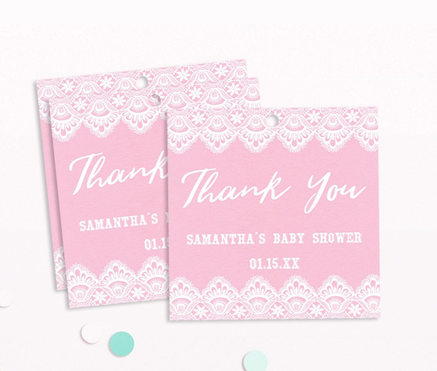 Pink and Gold Baby Shower Tag, Baby Shower Thank You Tag, Printable ...