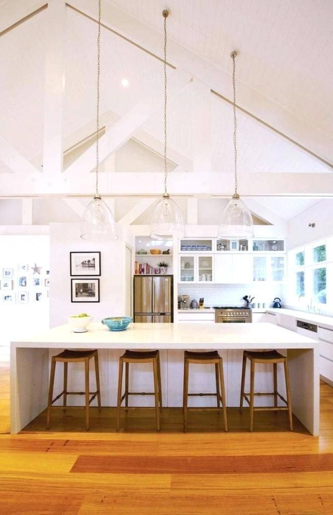 Sloped Ceiling Lighting Ideas Vaulted Ceiling Kitchen Coastal Kitchen Design Vaulted Ceiling Lighting