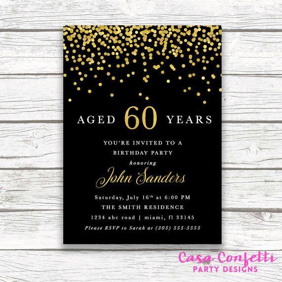 adult male birthday invitation  black and gold birthday