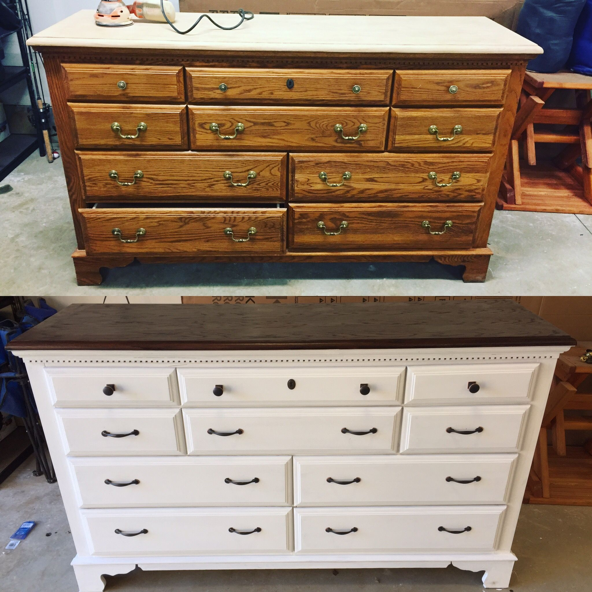 Before And After On An Old Dresser Some White Chalk Paint New Stain And New Hardware White Chalk Paint Furniture Furniture Makeover Painted Bedroom Furniture [ 2048 x 2048 Pixel ]