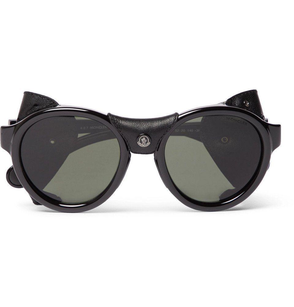 3933299e51 Moncler - Round-Frame Leather-Trimmed Acetate Polarised Sunglasses - Men -  Black