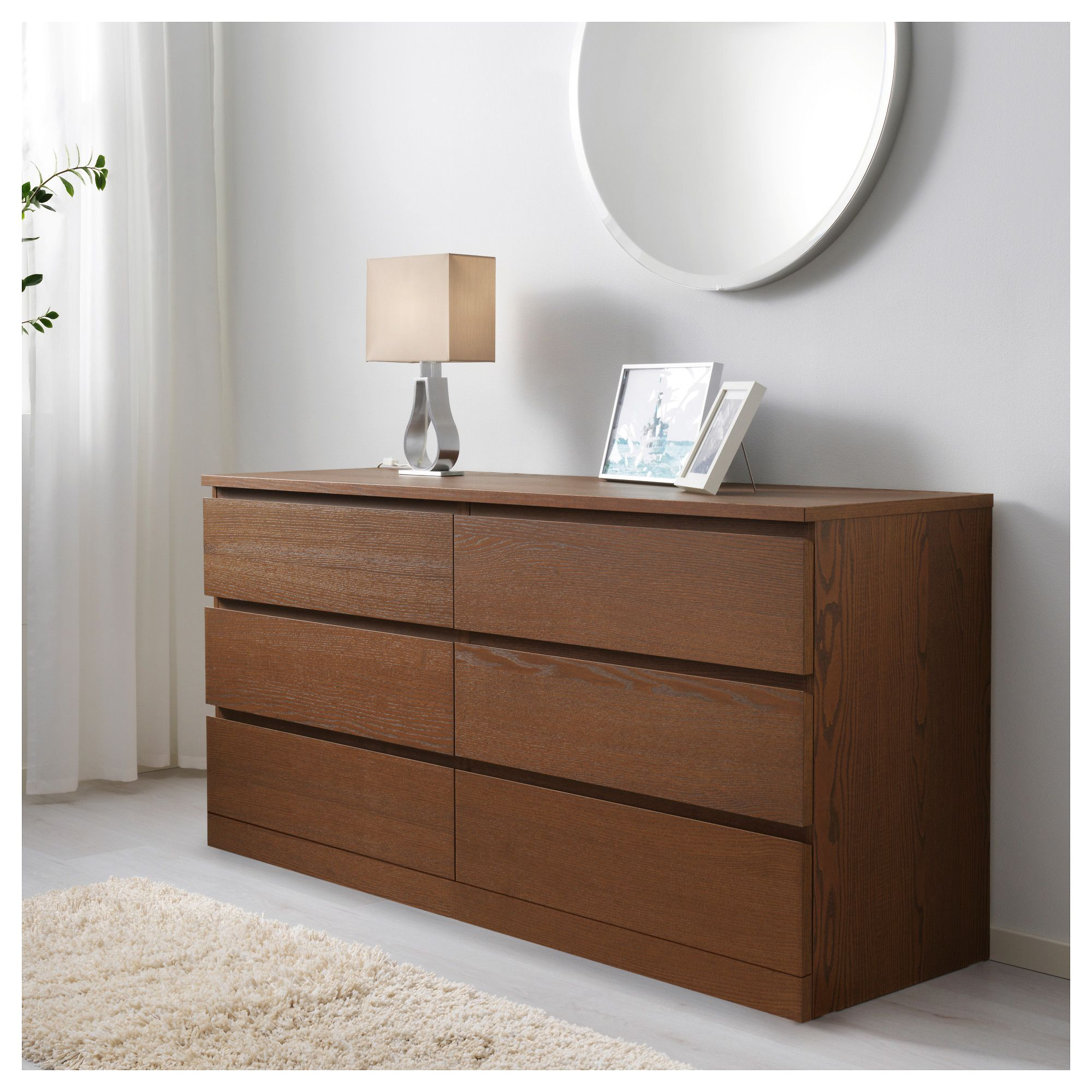 Ikea Malm 6 Drawer Dresser Brown Stained Ash Veneer