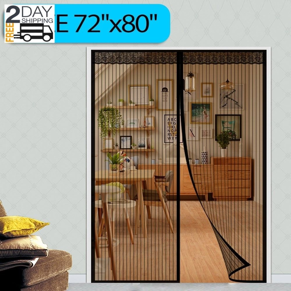 72x80 Magnetic Screen French Sliding Glass Patio Door Mosquito