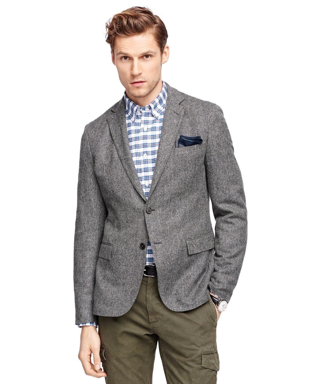 Men's Herringbone Sport Coat | Brooks Brothers | Grey Blazer ...