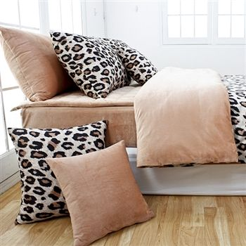 Beige Brown Leopard Microfiber Duvet Cover Set