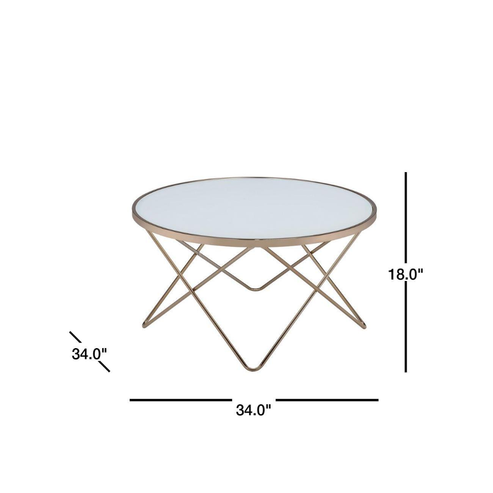 Acme Furniture Valora 34 In Frosted Glass Champagne Medium Round Glass Coffee Table With Storage 81825 The Home Depot Coffee Table Round Glass Coffee Table Coffee Table With Storage [ png ]