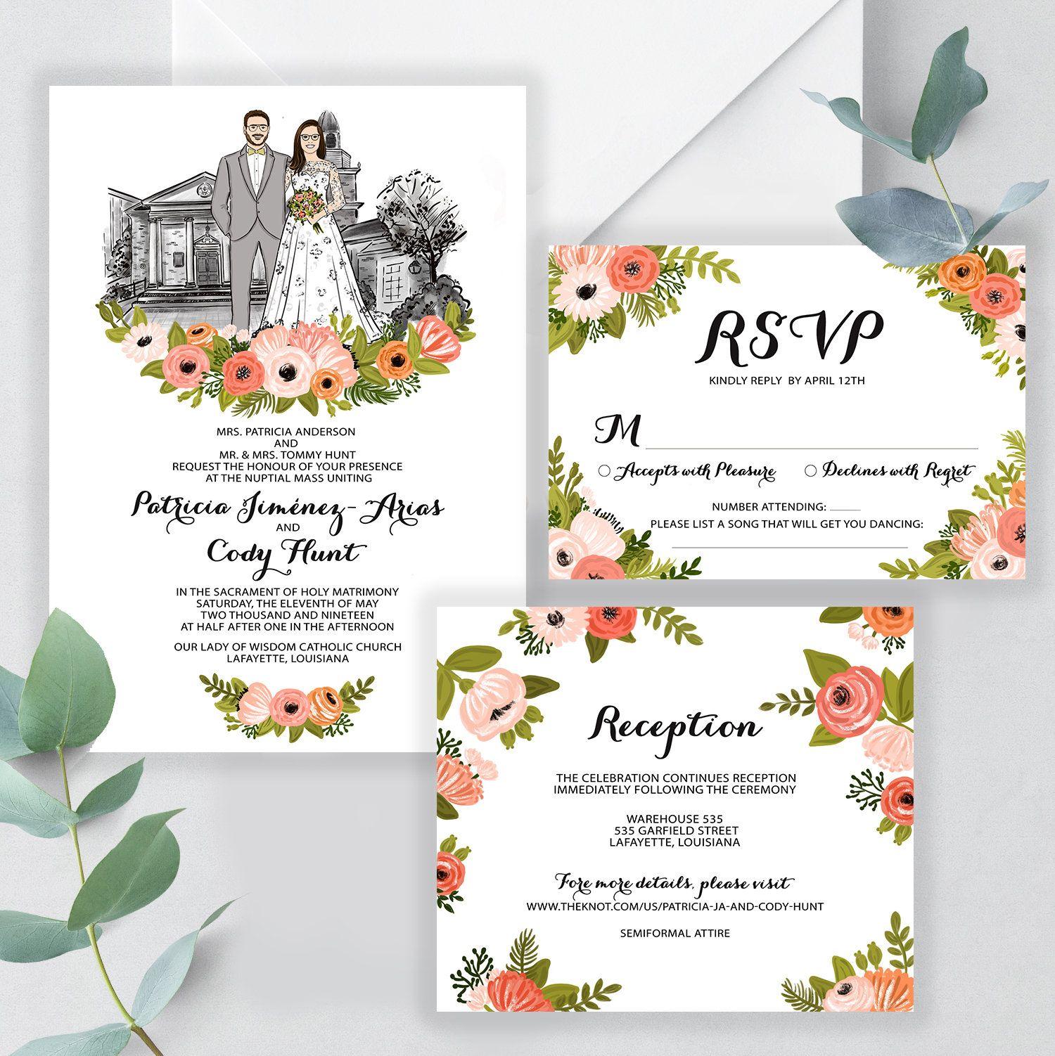 Illustrated wedding invitation set, Custom illustration couple ...