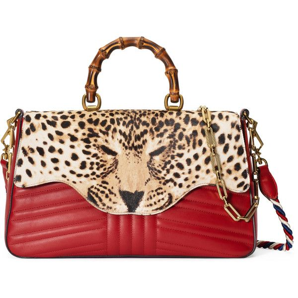 f5649da0ed07 Gucci Leopard Print Top Handle Bag ( 3,120) ❤ liked on Polyvore ...