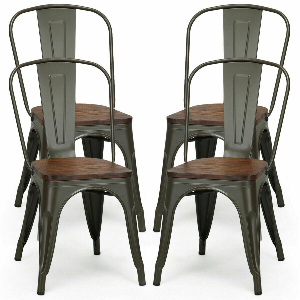 Set Of 4 Stackable Tolix Style Metal Wood Dining Chair In 2020 Dining Chairs Solid Wood Dining Chairs Industrial Dining Chairs
