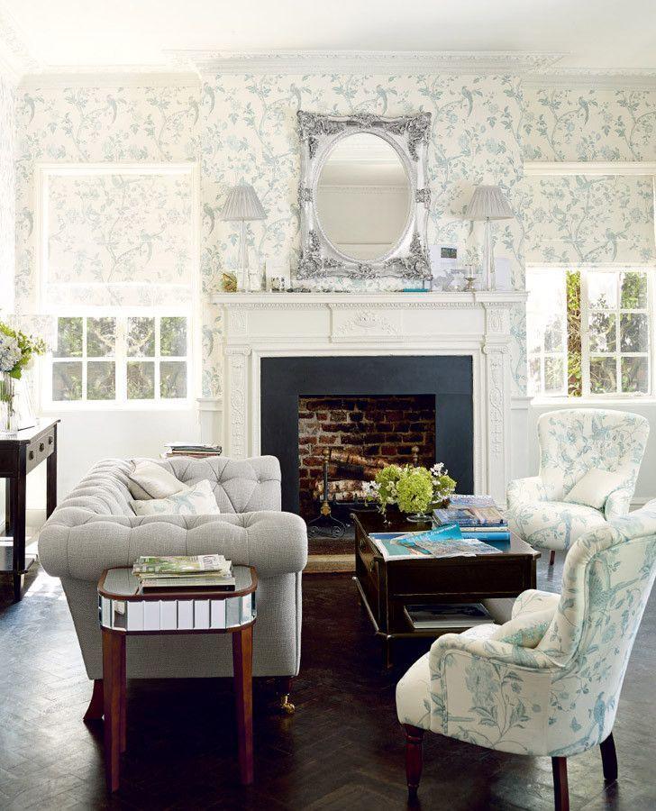 Summer Palace Off White/Duck Egg Wallpaper | AppaArels | Living room wallpaper duck egg, Laura ...