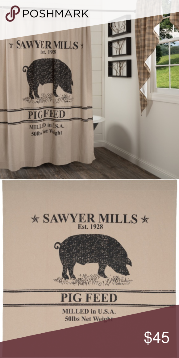 Primitive Farmhousesawyer Mill Pig Shower Curtain Country