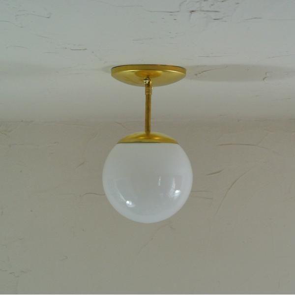 Mini mid century glass orb light flush mount