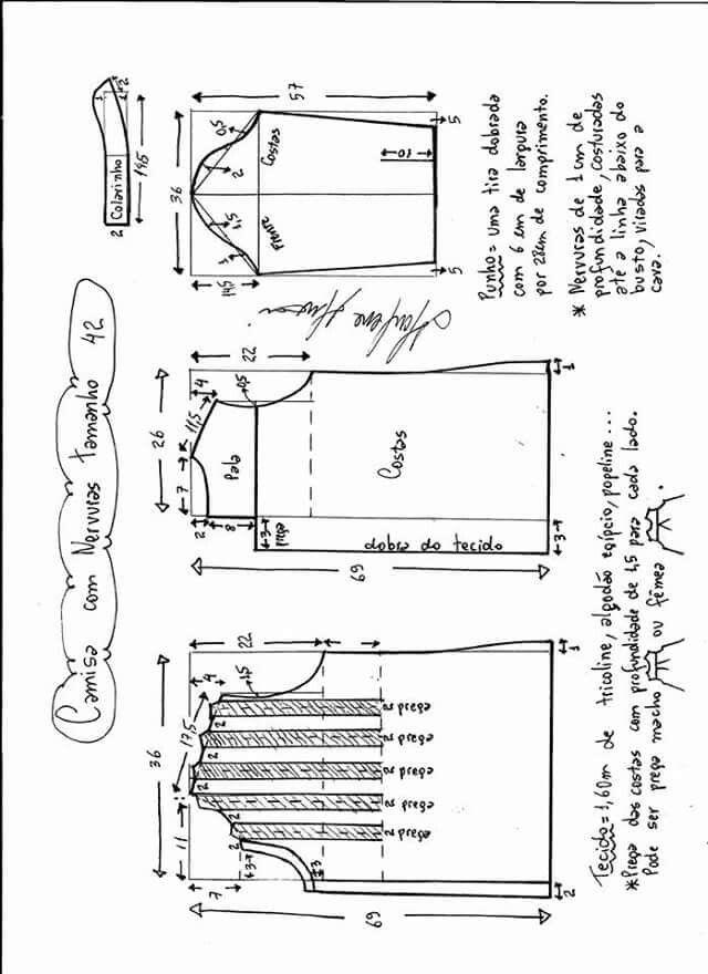 Camisa com nervuidas moldes 002 dif tallas | Damas | Pinterest ...