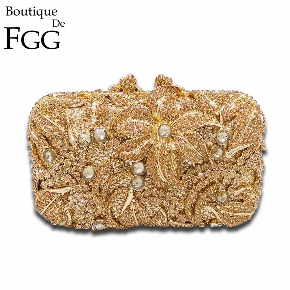 Gold Floral Appliques Hollow Out Crystal Evening Bags Metal ...