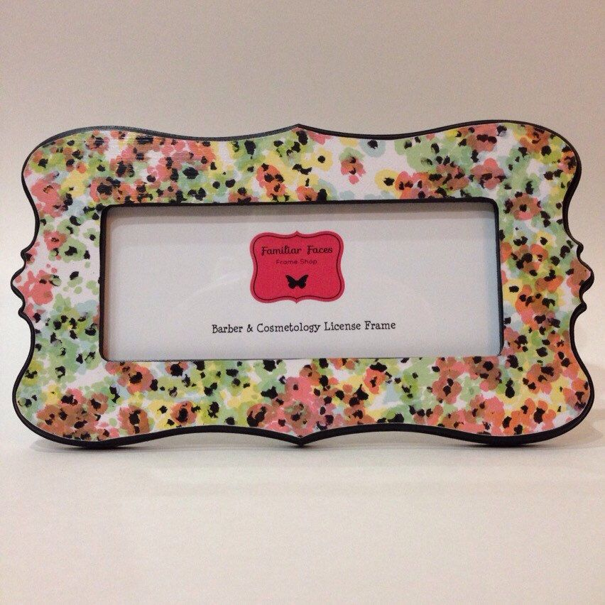 barber cosmetology license frame pink coral mint green blue yellow floral shabby fits 8 1