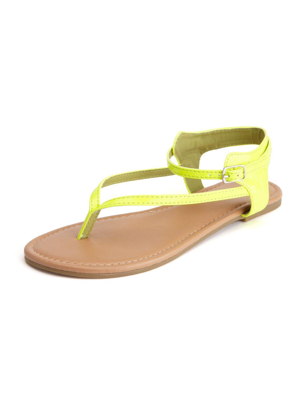 Ankle-Wrap Patent Thong Sandal