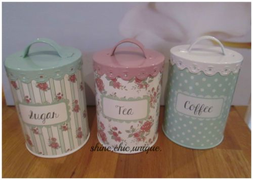 Shabby Chic Pink Green Floral Tea Coffee Sugar Canisters