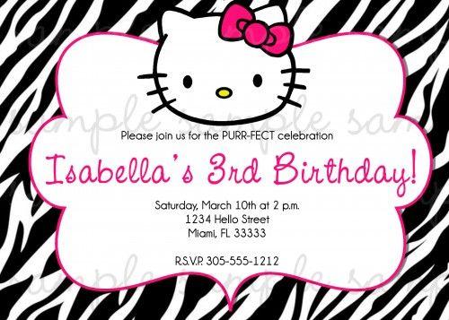 Hello Kitty Birthday Invitation Zebra digiprintsbytnl Cards on