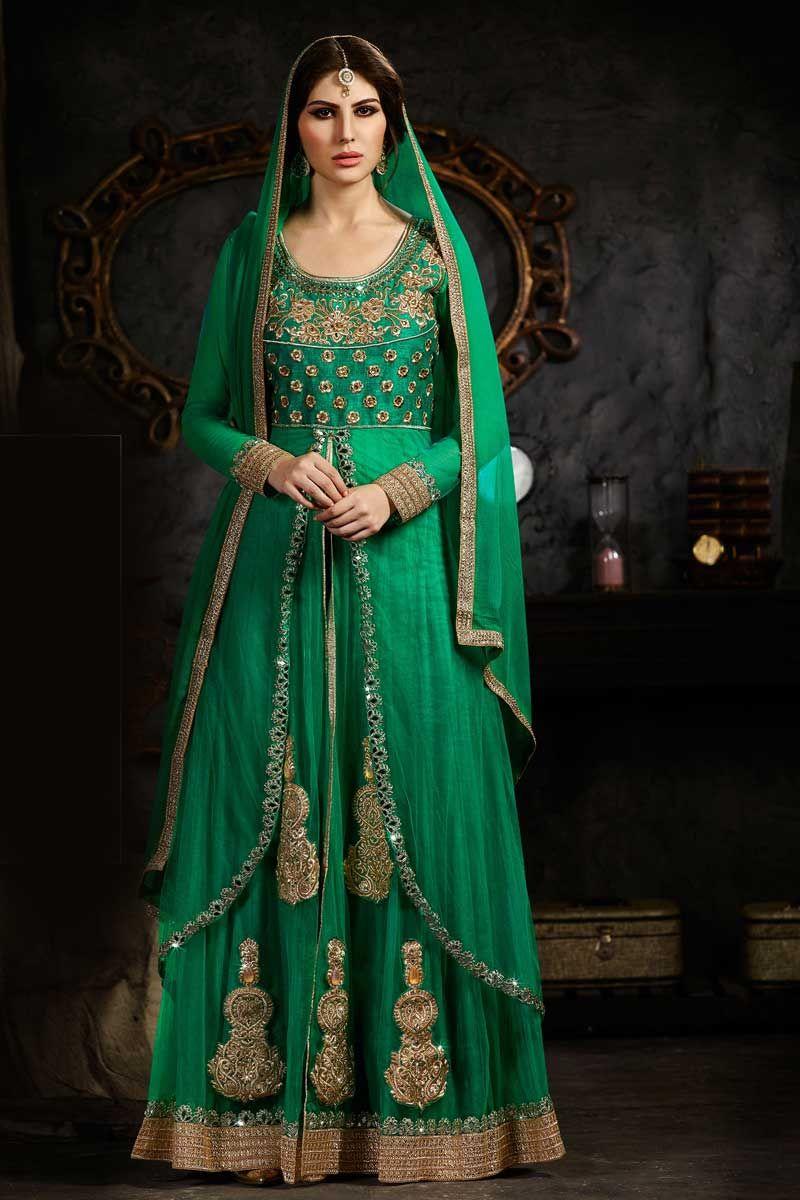 Green Net And Art Silk Anarkali Churidar Suit With Dupatta Green Net And Art Silk Semi Stictch Anarkali Churida Fashion Anarkali Dress Indian Wedding Outfits