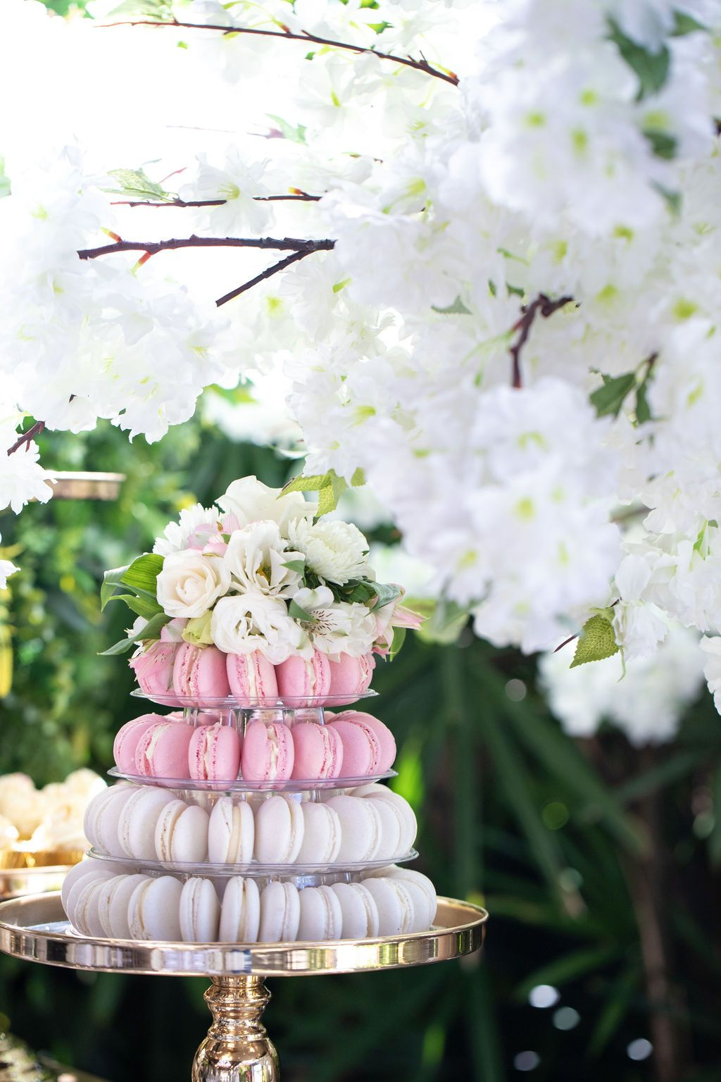 A Beautiful Setting Styled By The Amazing Sugarizeevents Created With Our Cherry Blossom Trees Check Ou Cherry Blossom Tree Macaron Tower Table Decorations