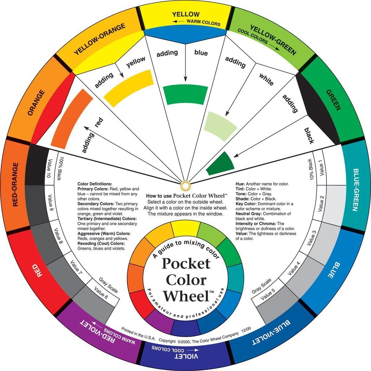 Pocket Colour Wheel For Artists Kids Paint Mixing Guide Visual