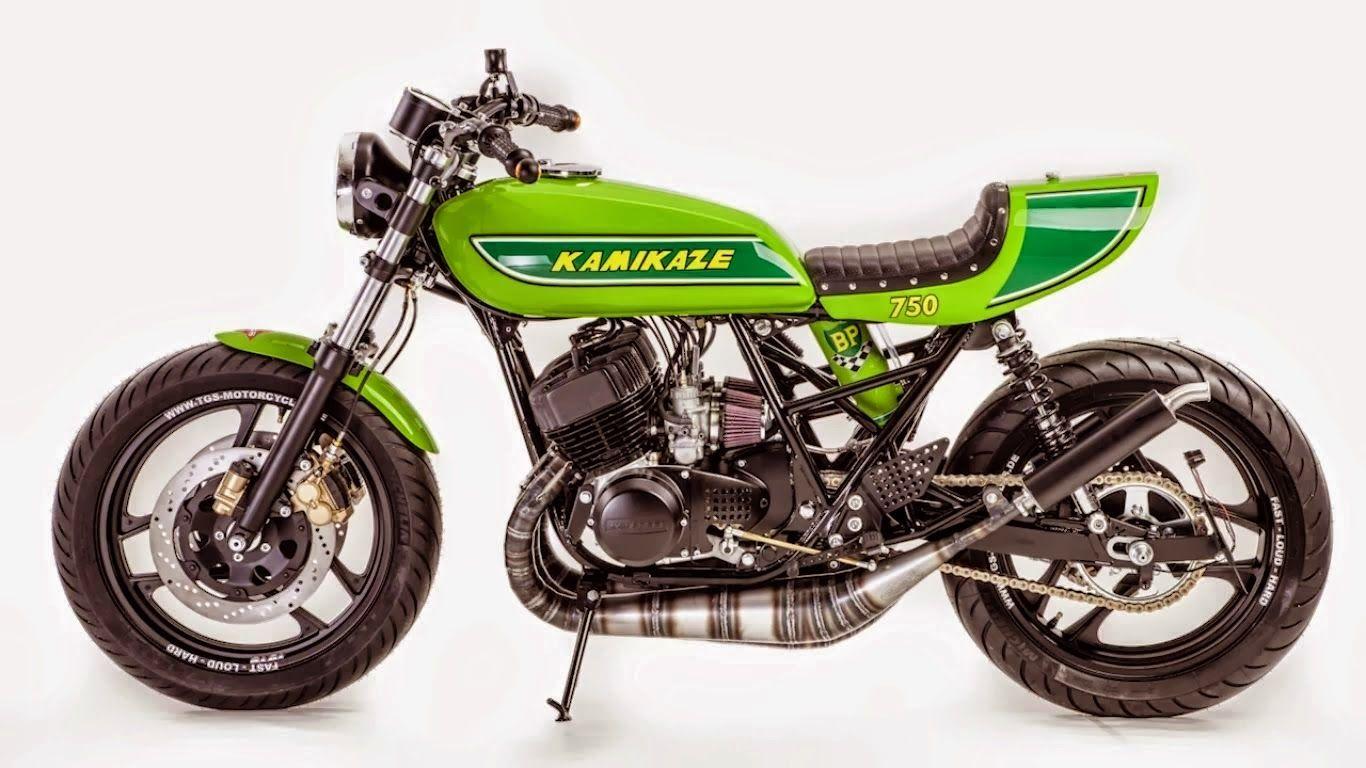 """kawasaki cafe racer   kamikaze 750 custom """"kawasaki cafe racer"""