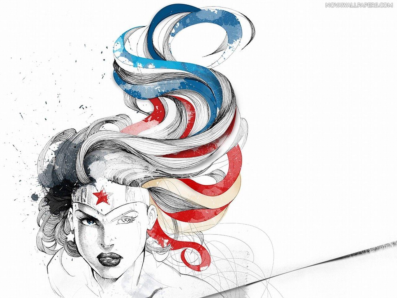 Wonder Woman Batman V Superman Sketch Art Hd Wallpaper Download