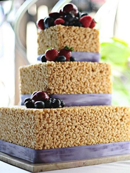 Rice Krispie Wedding Cake Could Be Cute For The Rehearsal Dinner Not