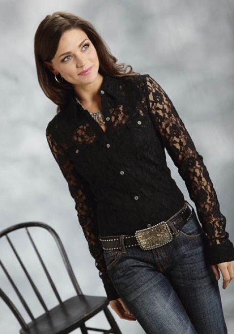 5c1eb5b119718c Roper® Ladies Black Lace LS Western Shirt | Quince ideas | Western ...