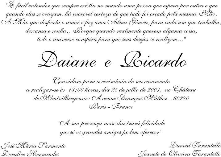 Convites Sugestão De Texto Casamento Casar Wedding