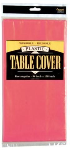 Round Plastic Table Cover - Hot Pink - 24 Units