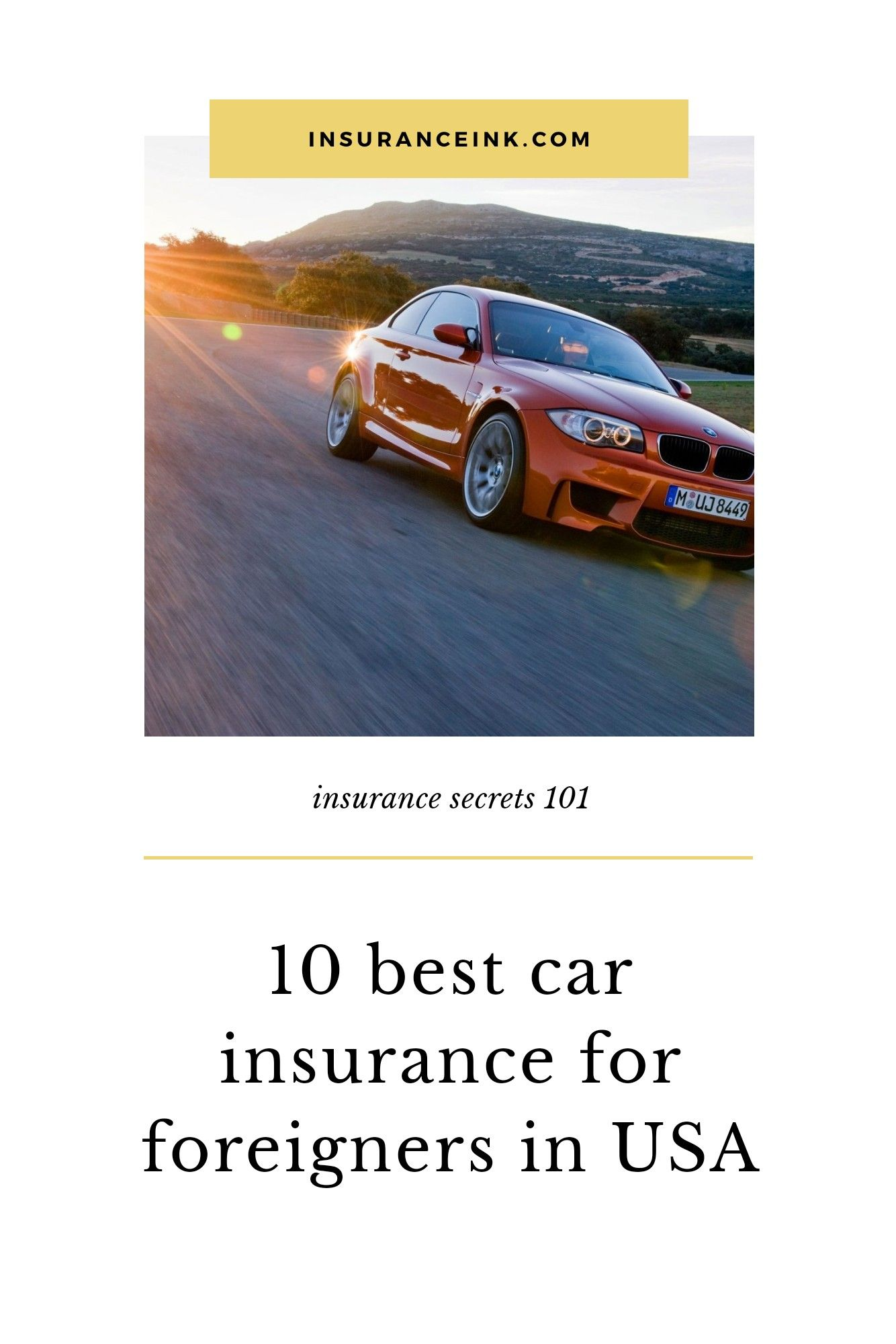 10 best car insurance for foreigners in USA (car insurance