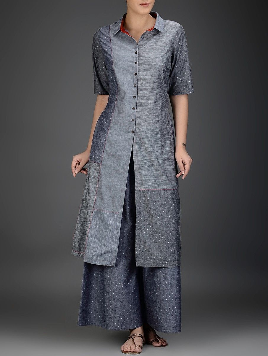 Buy grey button down kantha embroidered cotton chambray