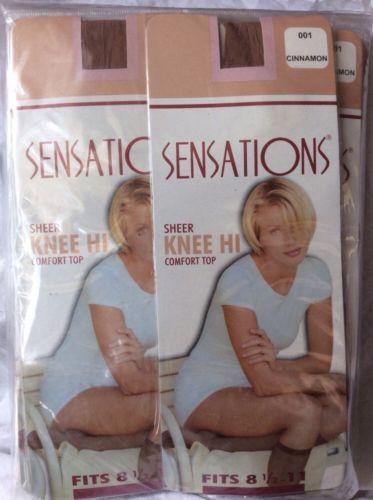 12 Packs Of Sensations Sheer Knee Hi Comfort Top Stockings Sets Cinnamon 001