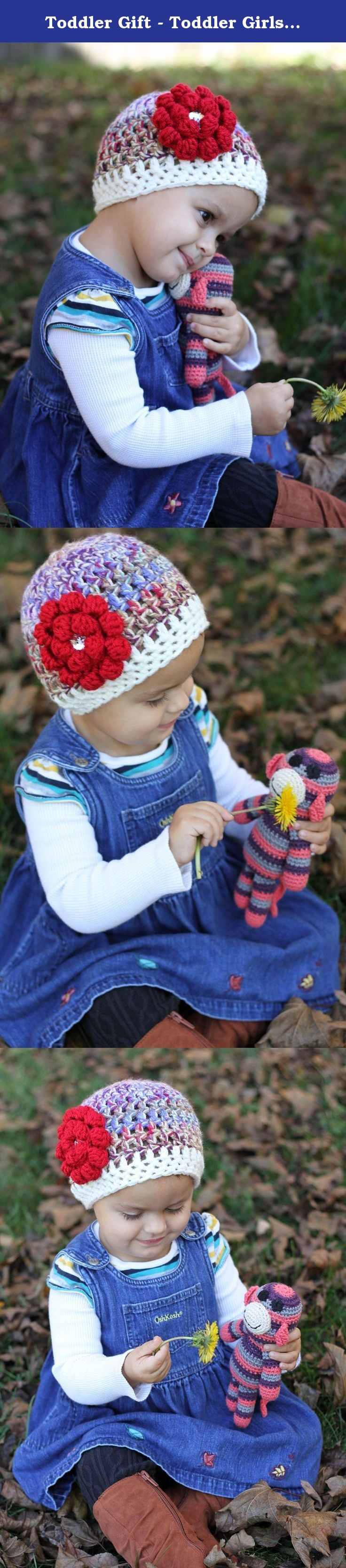 Toddler Gift - Toddler Girls Hat - Crochet Hat - Toddler Girls Winter Hat - Crocheted Winter Hat - Crochet Hat with Flower. I created this super cute toddler girl hat so that YOU can give the most unique handmade gift this year! This unique toddler gift was hand crocheted by me with you, my fellow hat lover, in mind. All Crochet Collection hats are made with cute color combinations and the most awesome buttons I can find! If I wouldn't wear it, I wouldn't want you to!.