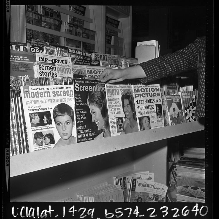 News stand with magazine covers featuring jackie kennedy and mia farrow may 1966 mrs john f kennedys face bolstered circulation for many magazines