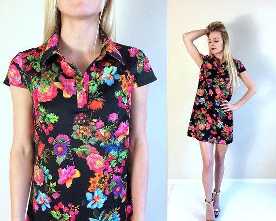 1e2bde56e577 vtg 90s BETSEY JOHNSON neon floral Shirt DRESS Small 6 photo print mini  dolly punk hipster grunge