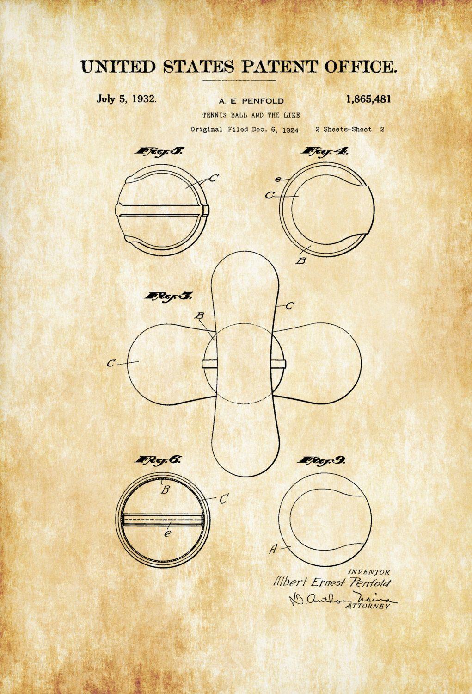 Tennis Ball Patent 1932 – Patent Print, Wall Decor, Tennis Art ...