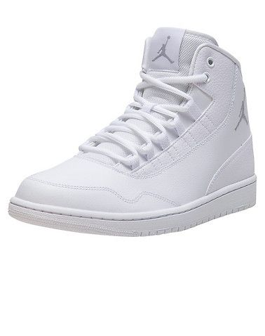 f104bd49466c JORDAN Executive sneaker Men s high top shoe Lace up closure Embroidered  JORDAN jumpman flight logo ... True to size, Mens sizes. Leather. White  820240-100.