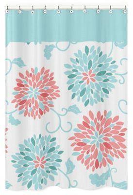 Sweet Jojo Designs Emma Shower Curtain In White Turquoise