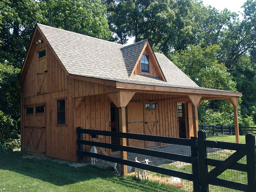 Goat barn plans 24x24 garage with overhang print for Cost to build your own garage