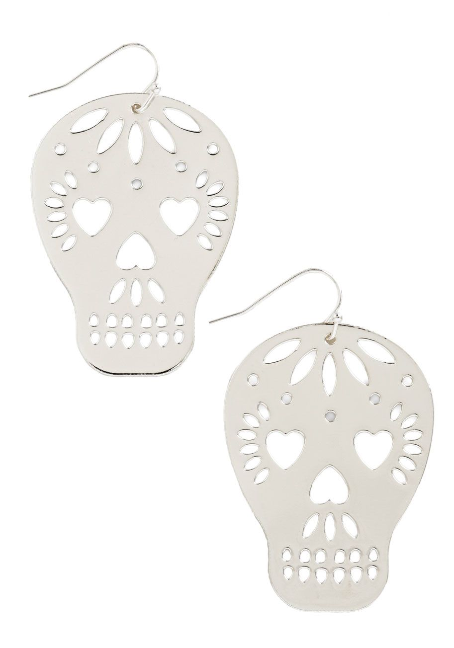 Earrings - Too Close to Skull Earrings in Silver