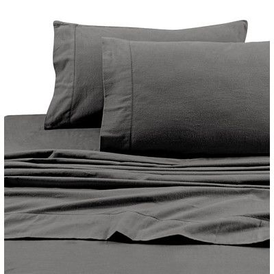 Tribeca Living Flannel Solid Extra Deep Pocket Sheet Set Size: Queen, Color: Grey
