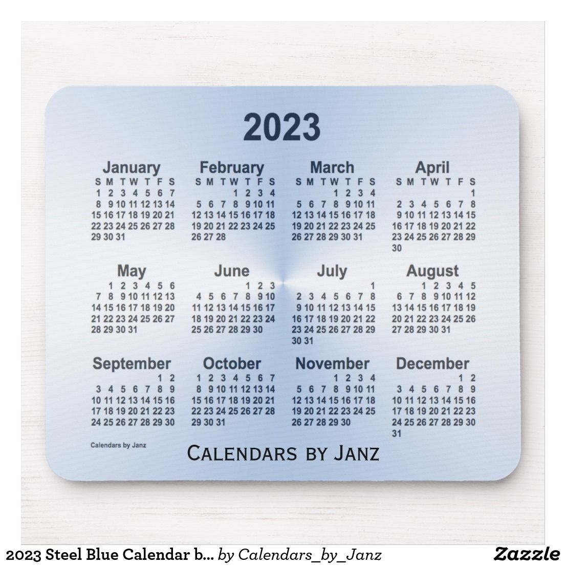2023 Steel Blue Calendar By Janz Mouse Pad Zazzle Com Custom