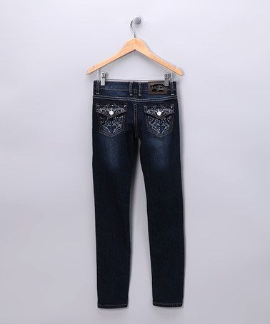 Take a look at this Dark Ornate Pocket Skinny Jeans - Girls by Twinkle Couture on #zulily today!