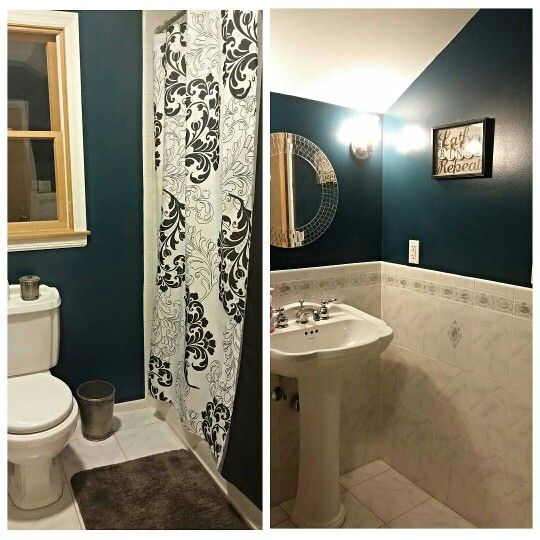 My Dark Teal Grey And White Bathroom With Pedestal Sink And Tile Bathroom Colors Gray And White Bathroom Pedestal Sink Bathroom